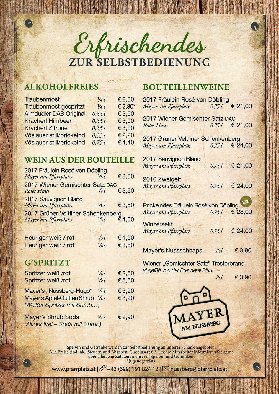 Angebot – Buschenschank Mayer am Nussberg